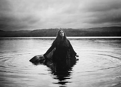 Letting Myself Go (Maren Klemp) Tags: fineartphotography fineartphotographer darkart darkartphotography blackandwhite monochrome water lake fog nature mist outdoors suitcase escape ethereal expressive woman selfportrait portrait naturallight melancholy conceptual surreal
