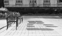 Hermann Square #1 (O Caritas) Tags: bw 11october2016 2016 copyright2016bypatricktpowerallrightsreserved hermannsquare houston nikkor70200mmafsf28gedvrii nikond610sn3024629 october texas chairs shadows unitedstatesofamerica dsc5042 cityhall