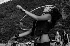 Hula hoop girl (stray_light_rays) Tags: blackandwhite bw festival losttheory losttheory2016 hippie hippies hippiegirls hippiegirl girl hooping hoopgirl hulahoop performance performer person party partygirls skills