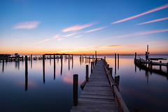 Pulchritudo in Ruinam (DJawZ) Tags: longexposure longbeachisland nj newjersey bay ocean water dock sky sunset reflection clouds blue beautiful nd landscape seascape neutral density fuji xt1 fujifilm