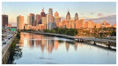 Downtown Philadelphia (mark.aizenberg) Tags: outdoors waterfront water river city downtown evening iphone7 mobile smartphone philadelphia buildings october