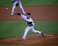 Photo of the Day Project, Oct. 20, 2016: Dodgers starter Kenta Maeda delivers a pitch during the first inning of #NLCS Game 5. (apardavila) Tags: nlcs postseason baseball dodgerstadium kentamaeda losangelesdodgers majorleaguebaseball mlb sports
