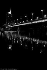 Nightline (danielkoehlersphotos) Tags: nightline nighttime night nacht bridge light nightlight danube donau river reflection water walk blackandwhite bw monochrome outdoor vienna wien sterreich austria danielkhler danielkoehlersphotos