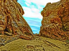 Rocky gap (elphweb) Tags: australia nsw seaside overcast cloudy rocks rocky rockformation fhdr falsehdr