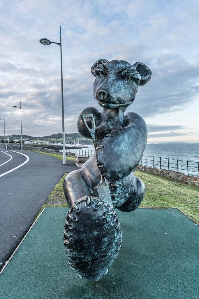 BEACH BEAR ON HIS WAY TO THE BEACH AT GREYSTONES [ARTIST- PATRICK O'REILLY]-122025