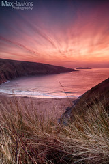 Mwnt Beach Sunset #2 (Max Hawkins) Tags: beach ceredigion cloud coast colour mwnt nationaltrust pink red sea sky sun sunset uk wales water