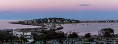Hull from Fort Revere (alohadave) Tags: atlanticocean bostonharbor clearsky effects fortrevere harbor hull lightroom massachusetts northamerica ocean panorama pentaxk5 places plymouthcounty sky stonybeach sunset unitedstates water wispyclouds smcpda60250mmf4edifsdm