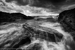 Guileen Oct 2016-1 (paulflynn) Tags: seascape landscape shore sea mono clouds rocks waves guileen finure
