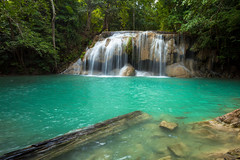 Erawan Waterfall (tamvisut_pradissap) Tags: park travel tree nature water beauty forest thailand waterfall place natural fresh clear national kanchanaburi erawan