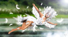 Swan feelings (meriluu17) Tags: boudoir mask swan bird white wing wings feather feathers outdoor light reflection river lake fly feelings girl fantasy fairy mystical magic magical surreal