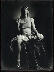 The Naked Soul (mmeshka) Tags: alternative alternativephotography ambrotype blackandwhite collodion epsonv600 fkd18x24 industar37 largeformat tintype wet plate wetcollodion portrait people pregnant woman mandala