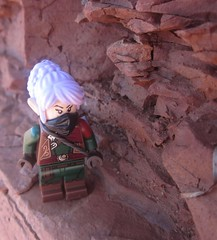 Climbing the rocks (Marley Mac) Tags: lego marleymac photo photography picture outside nature beach minifig minifigure fig rocks sun bright outdoors elf elves medieval fantasy castle ranger rouge