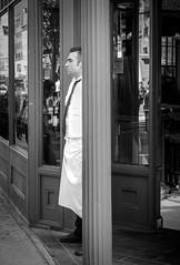 Waiter NYC 4.2016 (nusevoicephotog) Tags: streetphotography people blackandwhiteisworththefight blackandwhite restaurant scene nyc nyip olympusomd
