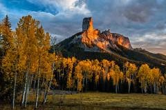 Cimarron Sunset (Guy Schmickle) Tags: chimneyrock cimarronrange colorado courthousemountain minnesota sanjuanmountains uncompahgrenationalforest autumn sunriseorsunset