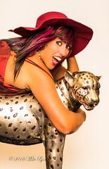 Hang on to your hat!! (trethurffe2001) Tags: browneyes caucasian cheetah color colour colouredhair eyesbrown female hat indoor indoors longhair model photographicmodel studio tan tanned whiteskin wind ripley england unitedkingdom gb
