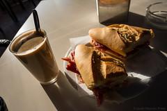 Spanish breakfast (Javier Palacios Prieto) Tags: caf coffe coffee kaffe cafeina desayuno bocadillo jamn frhstck milchkaffee