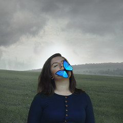 Protect my soul (misa.stahlova) Tags: 365 365project conceptual concept surreal imaginative soul protect meadow portrait selfportrait portraiture manipulation photoshop female butterfly blue cloudy rain canon 50mm outdoor people square