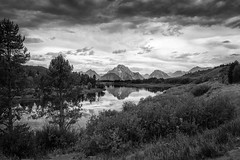Oxbow Bend (Chen Yiming) Tags: grandteton mountain mountmoran moran nationalpark nps nps100 blackwhite blackandwhite bw oxbowbend oxbow turnout wyoming