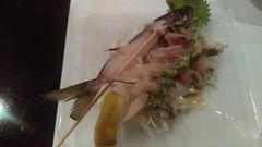 (clascaris) Tags: sashimidinner sparklingsake mackerel sushiajito hollywoodfountainhighlandblvd lemon wholefish sweeteye fins skewered tempura shiso seaweedsalad chefsplatter spanishmackerel eel