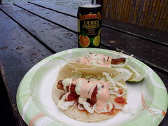 Island Fish Tacos (jimmywayne) Tags: kaneohe hawaii honolulucounty ddd dinersdriveinsdives heeiapier generalstore dock fishtacos lilikoi passionfruit