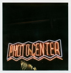 Photo Center Neon (tobysx70) Tags: the impossible project tip polaroid slr680 frankenroid sx70 door rollers film for 600 type cameras instant impossaroid photo center beverly blvd boulevard los angeles la california ca neon sign lit illuminated night nocturnal camera shop store toby hancock photography