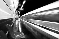 Metro Departure (Photonenblende) Tags: metro subway underground station ubahnhof tube umahn movement blackandwhite schwarzweiss train zug reflections spiegelung departure abfahrt flow bewegung