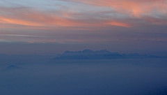 The Brenta Dolomites range emerge from a sea of fog at sunset (ab.130722jvkz) Tags: italy trentino alps easternalps brentadolomites mountains sunset