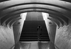 all the way up.. (leuntje) Tags: liège luik belgium belgique belgië centralstation guillemins railwaystation stairs stationhall architecture calatrava santiagocalatrava liègeguillemins