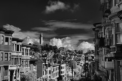 tower on the hill (Andy Kennelly) Tags: coit tower san francisco architecture hill bw clouds