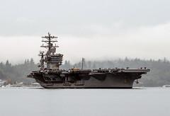 USS Nimitz transits Sinclair Inlet as it gets underway from Puget Sound Naval Shipyard. (Official U.S. Navy Imagery) Tags: extendedplannedincrementalavailability ussnimitz cvn68 sinclairinlet underway portorchard washington unitedstates us