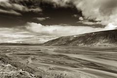 The Mrilla River in Contrast _5283 (hkoons) Tags: drangajkullglacier westfiords westfjords clouds drangajkull iceland mrilla cloud daylight fiord fjord glacial glacier island landscape north outdoors outside river weather