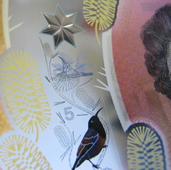 seven pointed star and bird artwork (spelio) Tags: 5 five dollar tender money new note mint australia closeup handheld macro g12 cash plastic