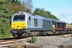 Surprise..... (stavioni) Tags: class67 royal 67012 67006 sovereign skip diesel railway train rail empty coaching stock