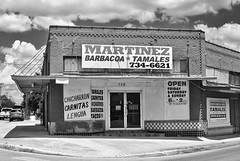 Martinez Barbacoa Y Tamales (Rob Sneed) Tags: usa texas sanantonio architecture vintage sign barbacoa tamales barbecue 728fredericksbergrd urban business food carnitas lengua chicarron tile doors tacos brick street corner streetcorner city
