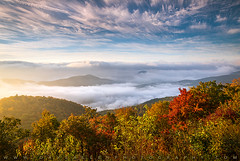 North Carolina Autumn Sunrise Blue Ridge Parkway NC (Dave Allen Photography) Tags: northcarolina asheville nc blueridgeparkway appalachian mountains fall foliage color october scenic landscape photography daveallen outdoors red orange clouds fog fallfoliage autumncolors morning pisgah nature wnc brevard vibrant parkway appalachians outdoorphotographer nikon d810 20mm light goldenlight morninglight