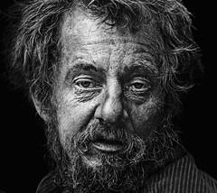Face - exploring emotions #202 (Ales Dusa) Tags: face homeless man beard outdoor bw