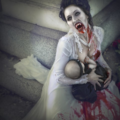 'Maternal Nocturnal the Feed III' (Natasha Root Photography) Tags: natasharootphotography inspire imagine create painterly vampire baby mom motherhood blood bloody cemetery fangs infant halloween spooky creepy feed breastfeed breastfed bite