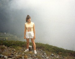 Lisa on a mountain, Switzerland - 1988 (TempusVolat) Tags: woman girl teens lisa teen 80s brunette gareth tempus volat wonfor mrmorodo garethwonfor tempusvolat