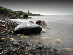 pebbles,windmill and see thru sea (explore) (kenny barker) Tags: longexposure scotland explore stmonans panasoniclumixgf1 welcomeuk kennybarker