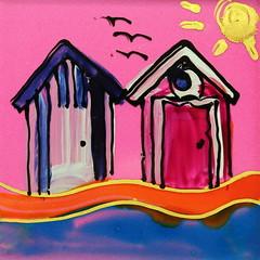 Beach Huts on Pink (Gillian Everett) Tags: pink australia queensland coaster beachhuts 2013 365colours 431may