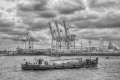 Hamburg Harbour Anniversary b/w (blavandmaster) Tags: city sea sky sun colour building history water beautiful skyline architecture clouds buildings river landscape deutschland coast licht soleil spring eau wasser factory sailing ship seasons cloudy harbour awesome horizon himmel wolken bateaux rivire historic ciel shore processing handheld nuages landschaft sonne hdr elbe schiffe hafengeburtstag refection hansestadt contryside