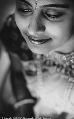 Defining Beauty (Neeraj Shutterbug) Tags: wedding portrait bw woman india smile canon bride women sweet candid ceremony calm jewels saree canoneos southindia weddingphotography canon50mm bwportrait canon500d incredibleindia canoneos500d southindiangirl
