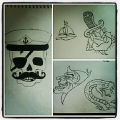 set 2 (Bruno Raupp) Tags: tattoo skull sketch snake devil sailor dagger draw