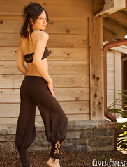 Lace Up Yoga Harem Pant with Cut Out lace up applique by Elven Forest Creations (Elven Forest Creations) Tags: brown fashion yoga clothing handmade womens clothes ecofriendly elvenforest