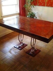 table with the sewing machine legs compressed