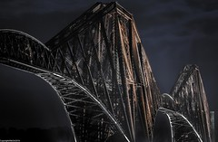 Steel in the night. (AlbOst) Tags: forthbridges forthrailbridge riverforth bridges nightshot night greatphotographers