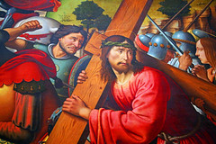 Christ Carries His Cross (Rennett Stowe) Tags: christ jesus cross sixthstationofthecross sorrowfulmysteries christcarrieshiscross christcarriesthecross fifthsorrowfulmystery passion thepassion christspassion jesuscarriesthecross sacrifice sacredcross sacred religion christian christianity ultimatesacrafice sin sins sacrificial suffering christianfaith dyingforsin theromancatholicchurch faith religious thelord ourlord commitment noturningback followthrough redclothes crownofthornes anger religioiusprejudice leportementdecroix decroix oldwoodencross cruci crucifixion christscrucifixion crucifixionofjesus thestationsofthecross thesorrowfulmysteries symbol religiouspersecution canon canoneos5dmarkiii sufferingface thefaceofsuffering loss degradation