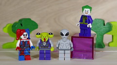 The Joker and Harley are always recruiting new members for their gang (N.the.Kudzu) Tags: home toys lego minifigures harleyquinn aliens joker pentaxk3 camerautility5