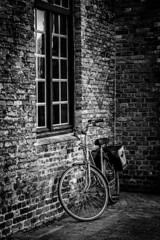 La Bici (Mauro Esains) Tags: brujas brugge blgica bicicletas clsicas puente ciclista aire libre ciudad paseo antiguo viajes turismo alforjas mujer chica seorita blanco y negro monocromo