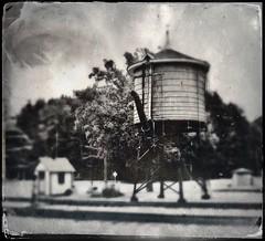 Wisconsin Water Tank Tintype (Neal3K) Tags: tintype hipstamatic bw blackwhite wisconsin midcontinentrrmuseum tracks watertank watertower
